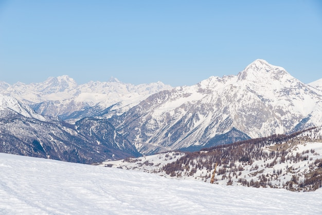 Panoramic view of sestriere ski resort from above