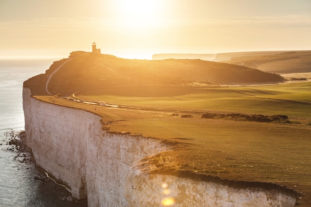 Panoramic view of seven sisters cliffs at sunset