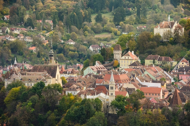 Panoramic view over sighisoara town, romania