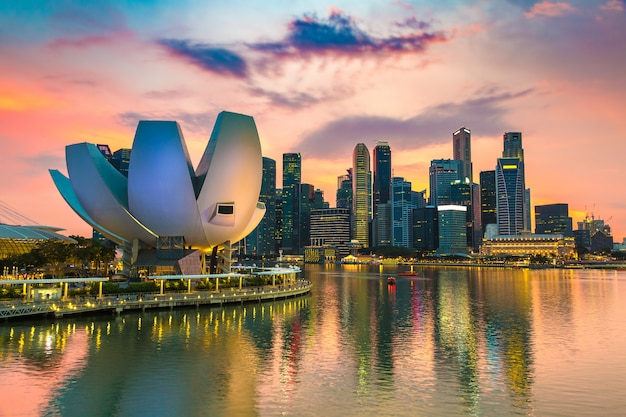 Panoramic view of singapore in a summer evening