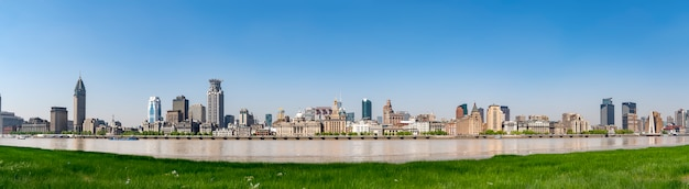Panoramic view of the skyline of the old building on the bund of shanghai