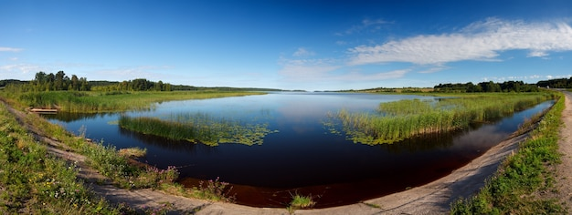 Panoramic view of the smooth surface of the lake with vegetation
