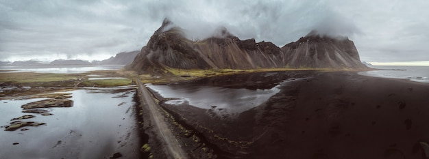 Panoramic view of stokksens in iceland