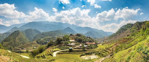 Panoramic view of terraced rice field in vietnam