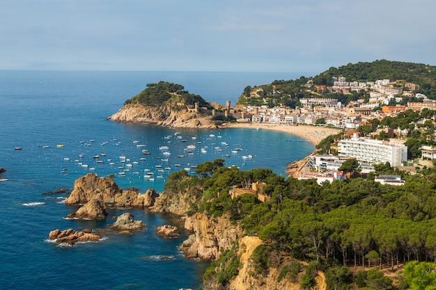Panoramic view of tossa de mar costa brava spain bay with boats