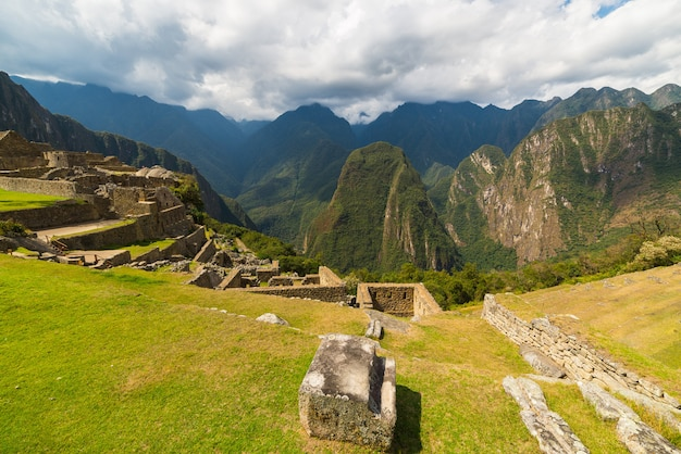 Panoramic view of urubamba valley from machu picchu, peru