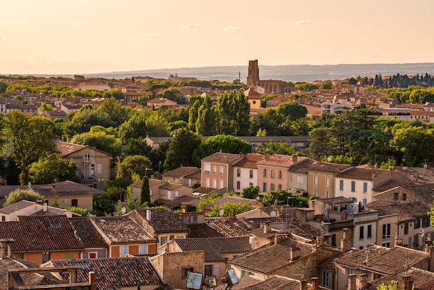 Panoramic view of the ville basse de carcassonne in france