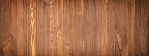 Panoramic view of a wooden table, wood texture close-up