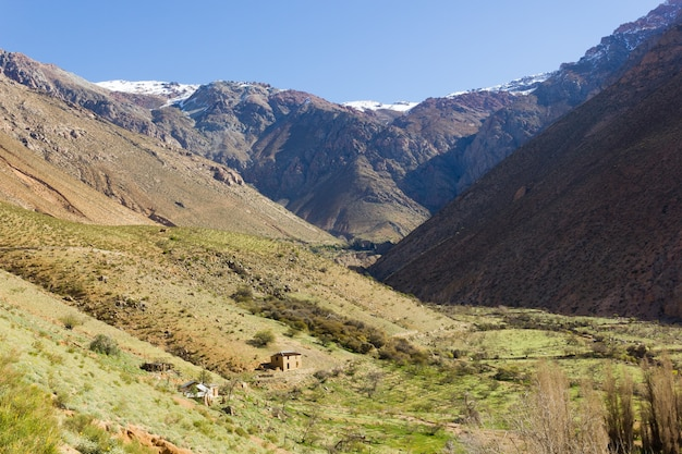 Panoramic views of elqui valley with snow mountains on the background under blue sky