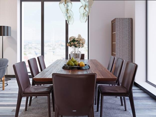 Панорамные окна в роскошной столовой с деревянным столом и кожаными креслами рядом с витриной и дизайнерскими подвесными светильниками. 3d рендеринг