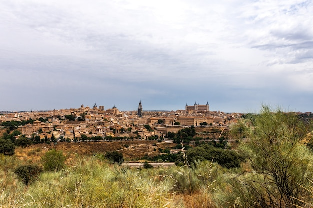 Panoramical view of toledo in a cloudy day
