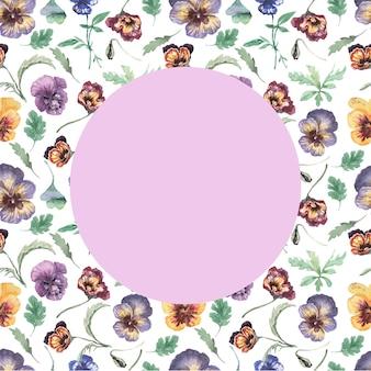 パンジー、花、花、植物。シームレスなパターン、プリント、テキスタイル。手描きの水彩イラスト紫、黄、ピンク
