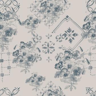 パンジーの花が咲きます。シームレスパターンプリントテキスタイル手描き水彩イラスト春夏自然。