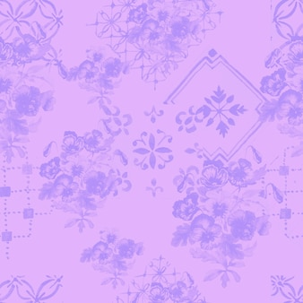 パンジーの花が咲きます。シームレスパターンプリントテキスタイル手描き水彩