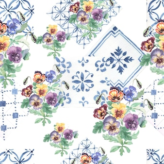 パンジーの花が咲くシームレスなパターン手描き水彩イラスト。