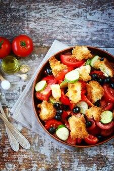 パンツァネッラサラダとパンオリーブとトマト