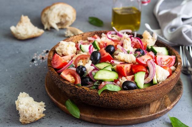 Panzanella, tomato and basil salad