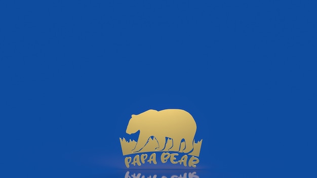 The papa bear for fathers day holiday concept 3d rendering