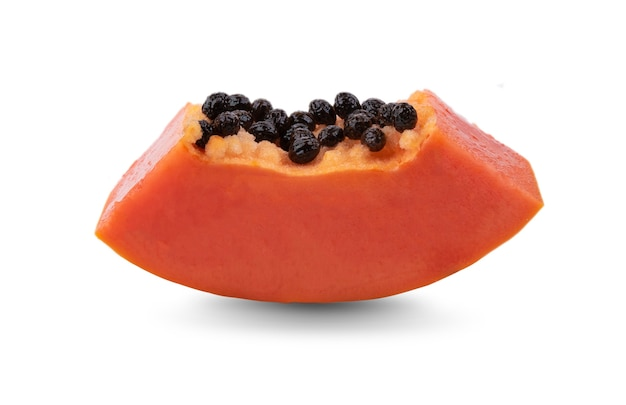 Papaya, cut into pieces isolated on white background