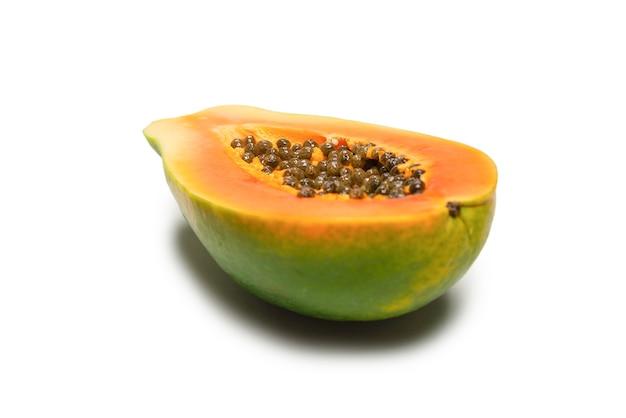 Papaya fruit isolated on a white background. tropical fruit. half papaya. top view.