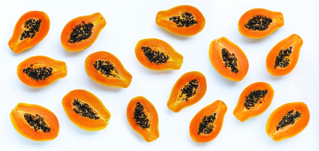 Papaya fruit on white background.