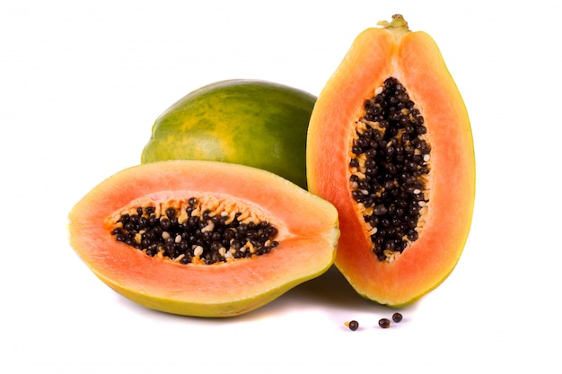 Papaya fruit on white