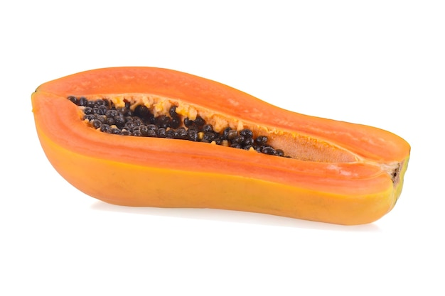 Papaya fruits isolated on white.