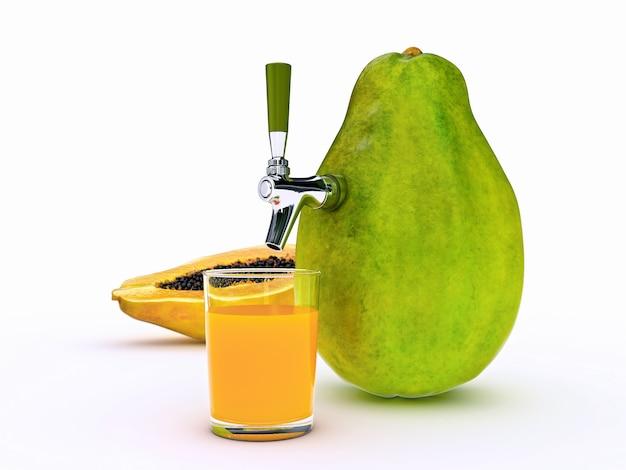 Papaya juice 3d rendering