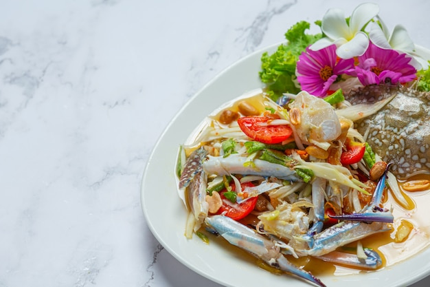 Papaya salad papaya blue crab fresh thai food.