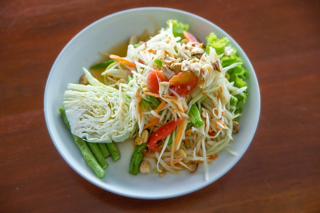 Papaya salad, top view in focus selective