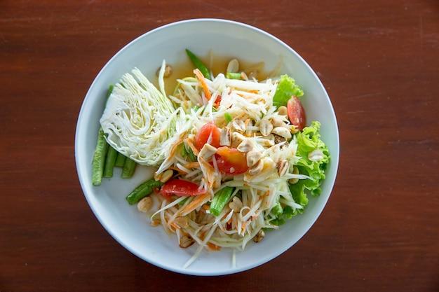 Papaya salad, top view in focus selective
