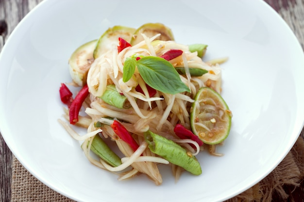 Papaya salad with horse crab, somtum