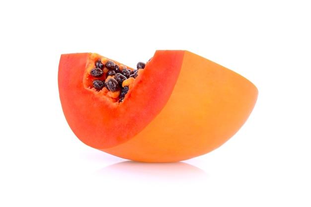 Papaya slices on white