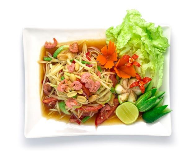 Острый салат из папайи в маринованном рыбном соусе тайская еда