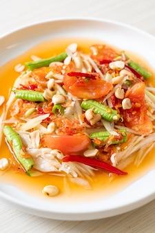 파파야 매운 샐러드-somtam-태국 전통 길거리 음식 스타일