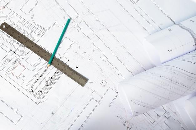 紙の建築図面と青写真、インテリアデザインの計画とプロジェクト