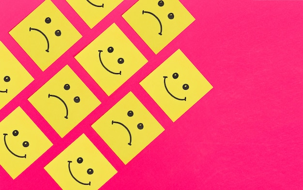 Paper art character. sticky note with smile, pattern background