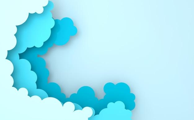 텍스트에 대 한 장소를 가진 종이 예술 다채로운 솜 털 구름 배경