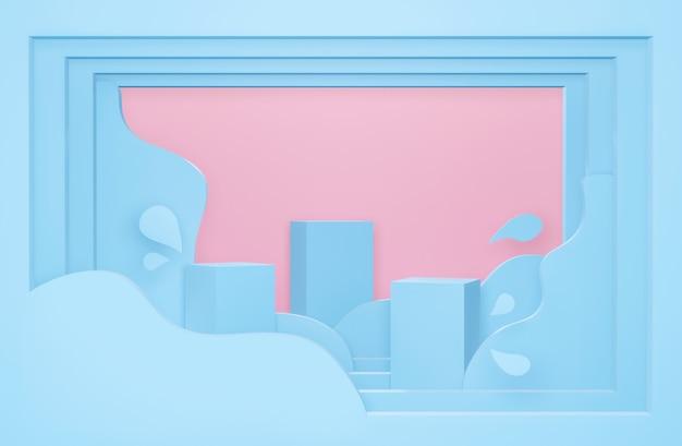 파스텔 추상 물 얼룩에 3d 블루 연단의 종이 예술