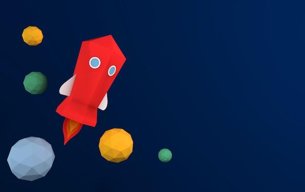 하늘로 우주 왕복선 발사의 종이 예술 푸른 하늘 행성 로켓 발사