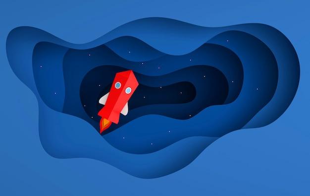 空へのスペースシャトル打ち上げのペーパーアート