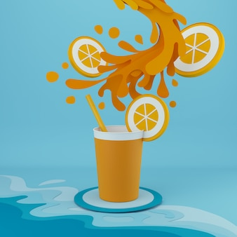 Paper art of orange juice with splash