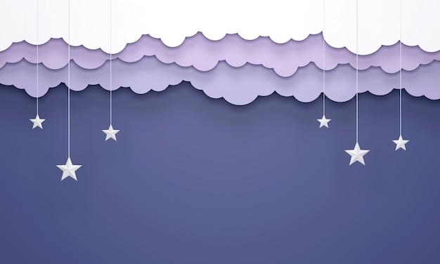 Бумажный стиль искусства, висячие облака и звезды в 3d визуализации дизайна голубого неба.