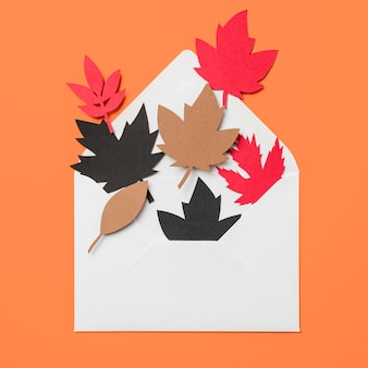 Paper autumn leaves in envelope on orange background