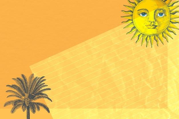 パブリックドメインのアートワークからリミックスされた太陽とヤシの木のミクストメディアと紙の背景