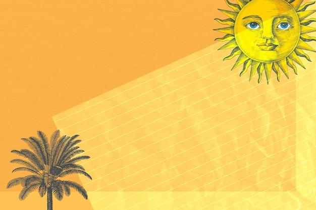 Paper background with sun and palm tree mixed media, remixed from public domain artworks