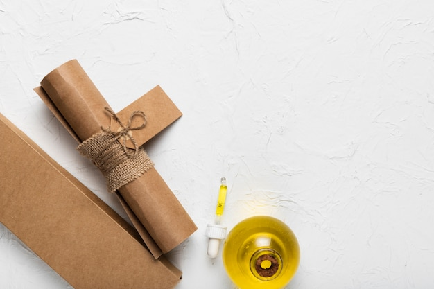 Paper bag and balmy oil at spa