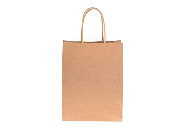 Paper bag, empty bag, handle isolated
