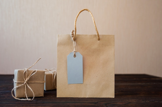 Paper bag from kraft paper with tag