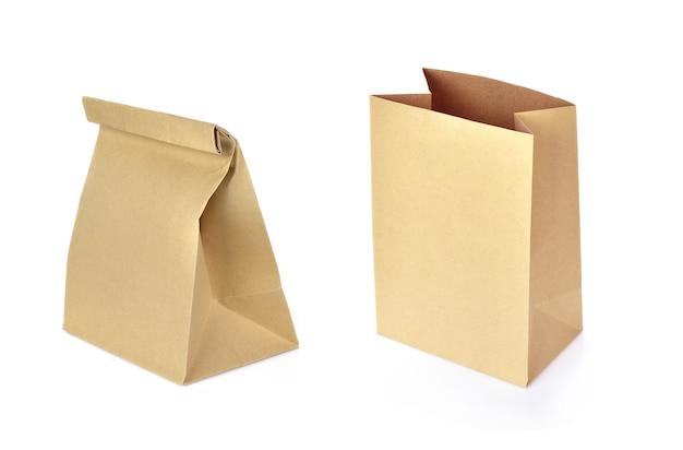 Бумажный пакет, изолированные на белом фоне